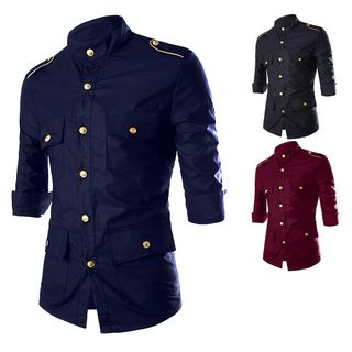Image of 3/4-Sleeve Button Trim Shirt