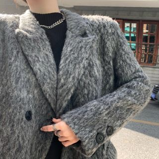 Loose-fit Coat Gray - One Size