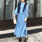 Plain Frill Trim Long Sleeve Maxi Dress 1596