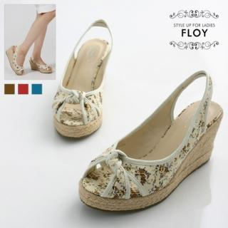 Buy FLOY SHOES Bow-Accent Canvas Wedge Sandals 1023054402