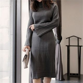 Turtle-Neck Ribbed Knit Dress 1057351243