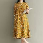 Floral Print Long-Sleeve Mandarin Collar Dress 1596