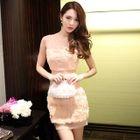 Sleeveless Applique Flower Dress 1596