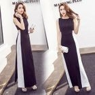 Color Panel Sleeveless Maxi Dress 1596