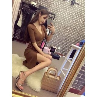 Ribbed Knit Elbow Sleeve Dress 1053737188