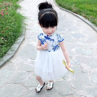 Kids Floral Print Mandarin Collar Short Sleeve Tulle Dress 1050830021