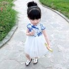 Kids Floral Print Mandarin Collar Short Sleeve Tulle Dress 1596