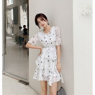 Short-sleeve | Chiffon | Ruffle | Dress | Print | Star