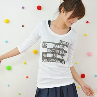 Picture of 59 Seconds 3/4-Sleeve Photo Print Tee White - One Size 1022465634 (59 Seconds Tees, Womens Tees, Hong Kong Tees, Causal Tops, Print / Logo Shirts)