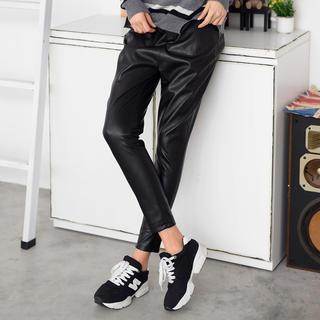 Slim-Fit Faux Leather Pants Black- One Size