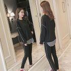 Maternity Set: Contrast Trim Pullover + Striped Top + Sweatpants 1596