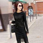 Knit Panel Lace Sheath Dress 1596