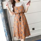 Set: Short-Sleeve T-Shirt + Strappy Patterned A-line Midi Dress 1596