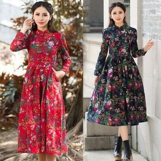 Mandarin Collar Floral Print Midi Dress 1054856992