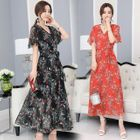 Floral Print Maxi Chiffon Dress 1596
