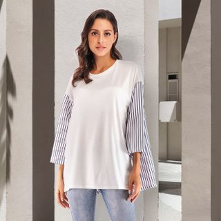 Image of 3/4 Sleeve Striped Panel Top