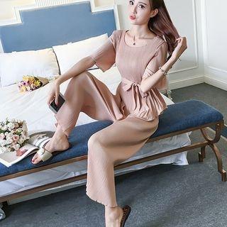 Set: 3/4-Sleeve Chiffon Top + Cropped Wide Leg Pants 1060349713
