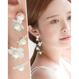Faux-Pearl Flower Drop Earrings