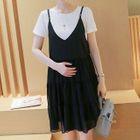 Maternity Set: Short Sleeve T-Shirt + Spaghetti Strap Dress 1596