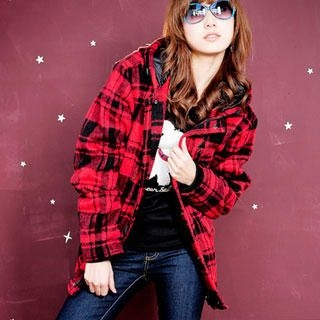 Buy YoungBaby Plaid Hooded Jacket 1022109215