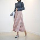 Band-Waist Accordion-Pleat Long Skirt 1596