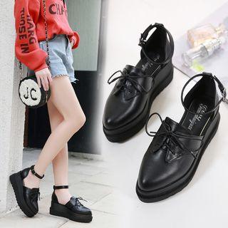 Platform | Leather | Ankle | Strap | Shoe | Faux