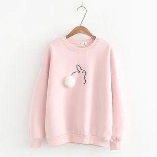Rabbit Embroidered Pom Pom Detail Sweatshirt 1062874216