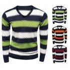 Long-Sleeve Stripe V-neck Sweater 1596