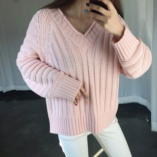 V-neck Ribbed Cable Knit Sweater 1053689507