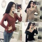 Long-Sleeve Knit Slim-Fit T-Shirt 1596