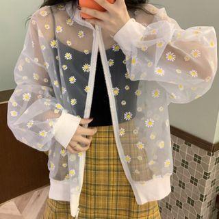 Image of Flower Print Zip Jacket