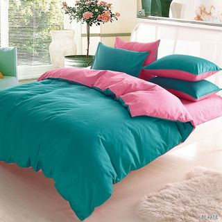 Color Block Bedding Set: Bed Sheet + Duvet Cover + Pillow Case 1063603658