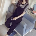 Maternity Set: Striped Short/ Long Sleeve T-Shirt + Pinafore Jumpsuit 1596