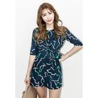 Elbow-Sleeve Tie-Waist Mini Dress 1596
