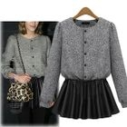 Knit Faux Leather Panel Long-Sleeve Dress 1596