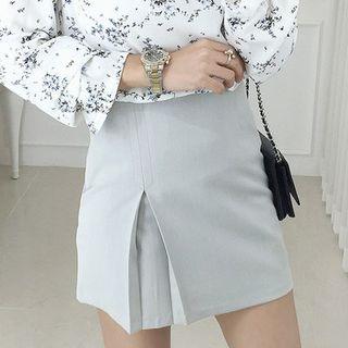Zip-Side Slit-Hem Mini Skirt