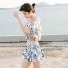 Set: Bikini + Floral Top + Skirt 1596
