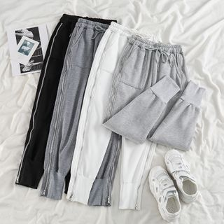 Drawstring Zip-accent Sweatpants