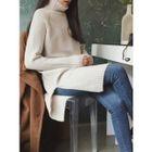 Turtle-Neck Wool Blend Long Sweater 1596
