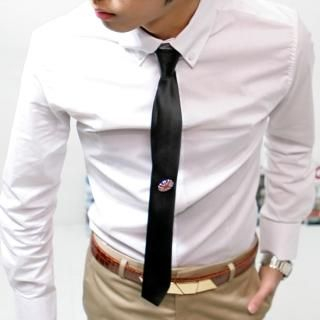 Buy ISNOM Slim Tie with Brooch 1022803521