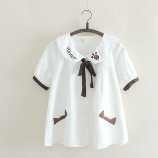 Image of Embroidered Short Sleeve Tie Neck Shirt