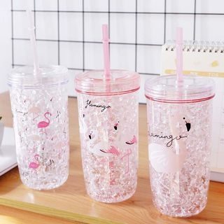 Flamingo Print Cup with Straw and Lid 1066233841