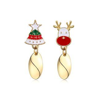 Fashion Christmas Tree And Elk Asymmetric Earrings Golden - One Size