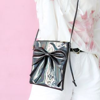 Bow Accent Hologram Crossbody Bag