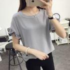 Frilled Short-Sleeve Chiffon T-Shirt 1596
