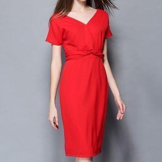 Short-Sleeve V-Neck Dress 1051504338