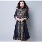 Mandarin Collar Floral Print Midi A-Line Dress 1596