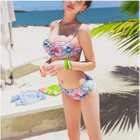 Set: Print Bikini + Off-Shoulder Top + Skirt 1596