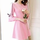 Bow Detail Bell-Sleeve A-Line Dress 1596