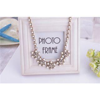 Faux Pearl Rhinestone Necklace 1039126810